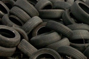Waste tyre disposal site